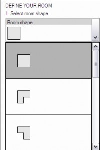Select the room shape and set the dimensions